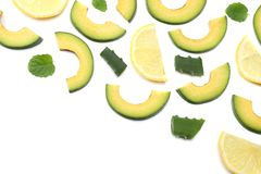 Healthy food. sliced avocado isolated on white background. top view Royalty Free Stock Photos