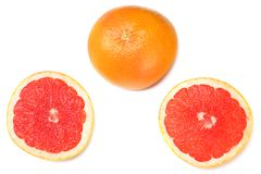 healthy food. sliced grapefruit isolated on white background. top view royalty free stock photos
