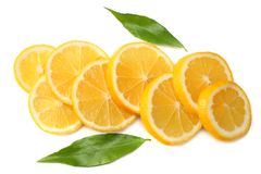 Healthy food. sliced lemon with green leaf isolated on white background top view Stock Image