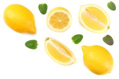 Healthy food. sliced lemon with green leaf isolated on white background top view stock photography