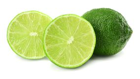 Healthy food. sliced lime isolated on white background stock photo