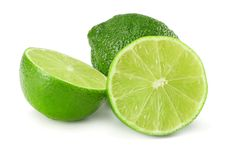 Healthy food. sliced lime isolated on white background royalty free stock photo