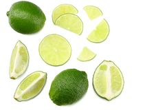 Healthy food. sliced lime isolated on white background top view royalty free stock image