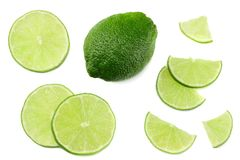 Healthy food. sliced lime isolated on white background top view stock photos