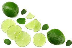 Healthy food. sliced lime isolated on white background top view stock image