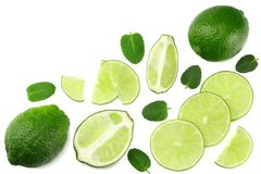 Healthy food. sliced lime isolated on white background top view royalty free stock photography