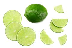 Healthy food. sliced lime isolated on white background top view stock images