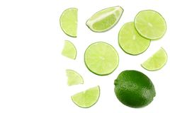 Healthy food. sliced lime isolated on white background top view royalty free stock photo
