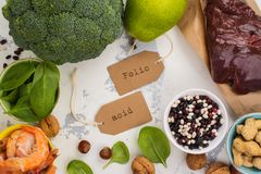 Products rich of folic acid Royalty Free Stock Photos