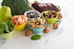 Products rich of folic acid Stock Images