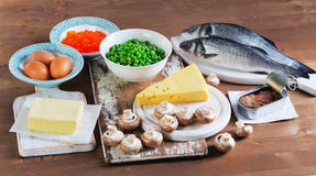 Healthy Food sources of vitamin D. Stock Image