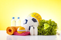 Healthy food and sport equipment Stock Photo