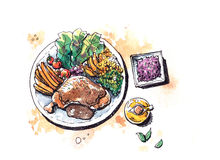 Healthy food steak with salad flat lay watercolor illustration Royalty Free Stock Photography