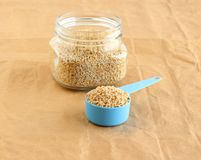 Healthy Food Steel-cut Oats in a Measuring Cup royalty free stock photos