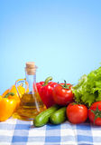 Healthy food still life on tablecloth Stock Photo