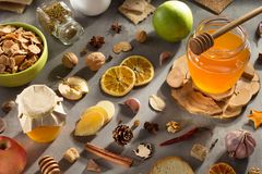 Healthy food on stone table stock photos