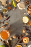 Healthy food on stone table royalty free stock image