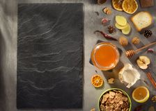 Healthy food on stone table royalty free stock photos