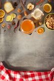 Healthy food on stone table stock photo