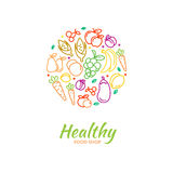 Healthy food store logo with fruit and vegetable Stock Photography