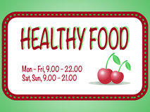 Healthy food store sign. Vector illustration of two red cherries in the square frame with text. Pair of berries. Are isolated on the white background Royalty Free Stock Images