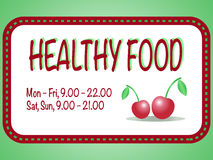 Healthy food store sign. Vector illustration of two red cherries Stock Photo