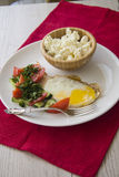Healthy food: stuffed eggs and cottage cheese Stock Photo