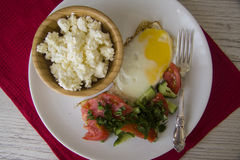 Healthy food: stuffed eggs and cottage cheese Royalty Free Stock Photo
