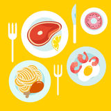 Healthy food on the table. Cartoon flat style. Vector illustration Stock Photos
