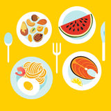 Healthy food on the table. Cartoon flat style. Vector illustration Stock Photo