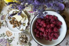 Healthy food on the table in rustic style. Top view. stock photography