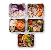 Healthy food take away in boxes, top view on white background Stock Image
