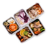 Healthy food take away in boxes, top view on white background Stock Photo