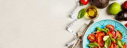 Healthy food and tape measure royalty free stock photos