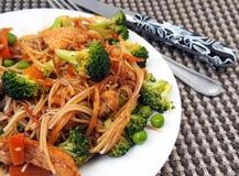 Healthy food of Thailand - chicken Pad Thai: spicy, juicy, hot Royalty Free Stock Photos