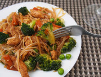 Healthy food of Thailand - chicken Pad Thai: spicy, juicy, hot Royalty Free Stock Image