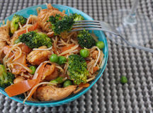 Healthy food of Thailand - chicken Pad Thai: spicy, juicy, hot Stock Photography