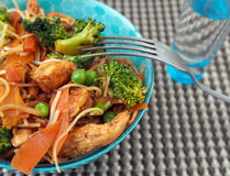 Healthy food of Thailand - chicken Pad Thai: spicy, juicy, hot Royalty Free Stock Photo