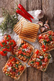 Healthy food: toast with white beans, tomatoes, cheese and garli Stock Image