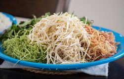 Asian salad banana flower and bean sprouts. Healthy food, tofu and green beans Stock Image