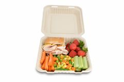 Healthy food on togo lunchbox Royalty Free Stock Photography