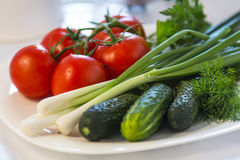 Healthy food: tomatoes, cucumbers and onions Royalty Free Stock Photo