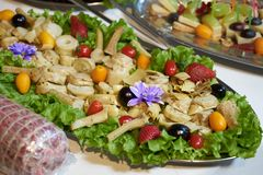 Healthy food tray background, close-up. Catering wedding buffet table stock photos