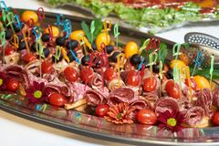 Healthy food tray background, close-up. Catering wedding buffet table royalty free stock photography