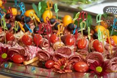 Healthy food tray background, close-up. Catering wedding buffet table stock images