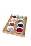 Healthy food on a tray Stock Photography