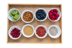 Healthy food on a tray Royalty Free Stock Photo