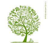 Healthy food tree, sketch for your design Royalty Free Stock Photos