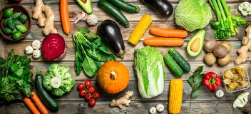 Healthy food. Variety of ripe fruits and vegetables stock photography