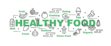 Healthy food vector banner. Design concept, flat style with icons Royalty Free Stock Photo